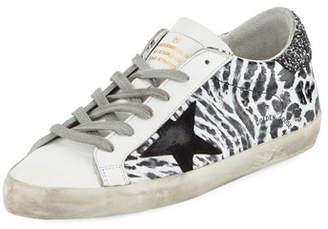 Golden Goose Superstar Smudge-Print Leather Platform Sneaker
