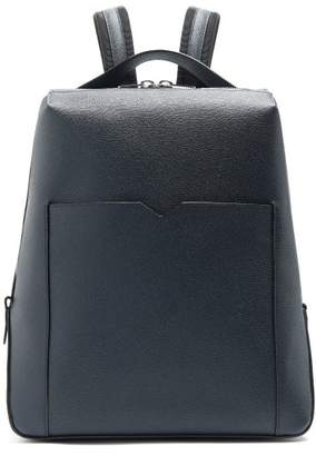 Valextra Grained Leather Backpack - Mens - Navy