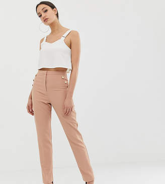 Asos Tall DESIGN Tall slim trousers with military button detail