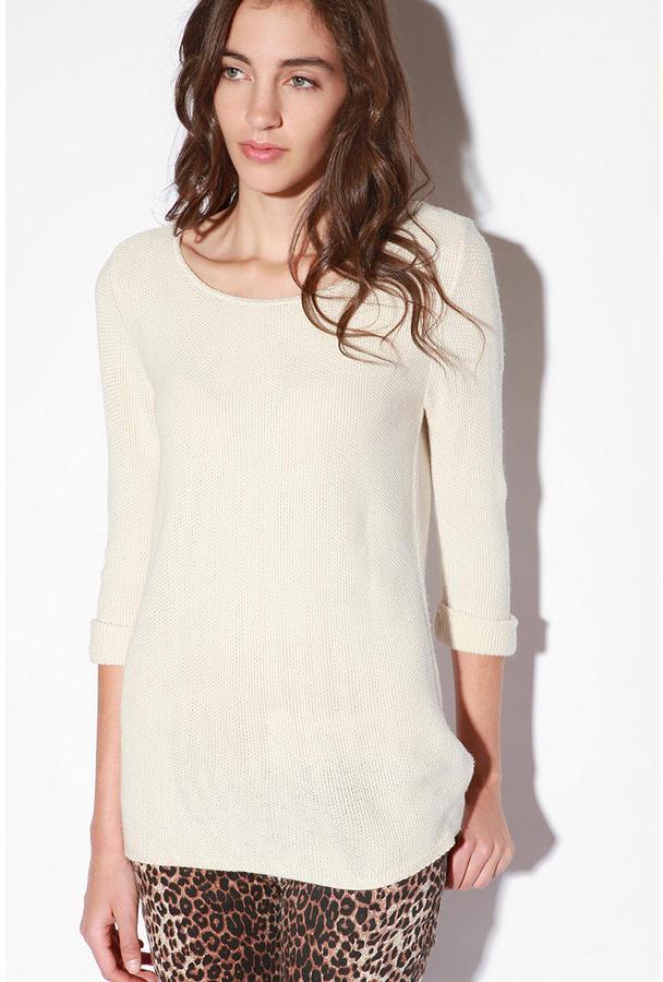 Sparkle & Fade Roll Cuff Boatneck Sweater