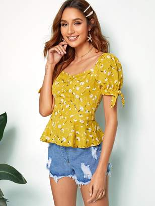 Shein Button Front Tie Cuff Ditsy Floral Peplum Blouse