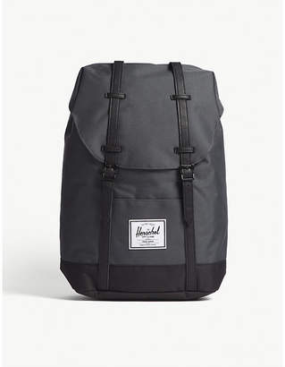 Herschel Dark shadow Grey and Black Woven Retreat Backpack