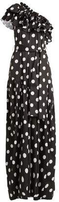 Caroline Constas Rhea Ruffled Cotton Blend Dress - Womens - Black White