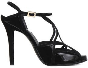 Roger Vivier Cutout Patent-leather And Suede Sandals