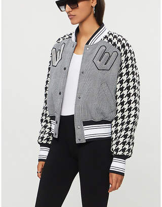 Off-White Houndsooth and checked wool varsity jacket