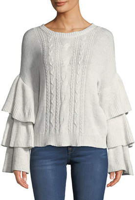 Cupcakes And Cashmere Kristin Cable-Knit Bell-Sleeve Sweater