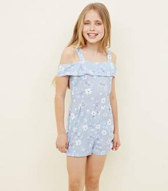 New Look Teens Blue Floral Puff Print Bardot Playsuit