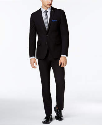 Nick Graham Men Slim-Fit Stretch Black Solid Suit