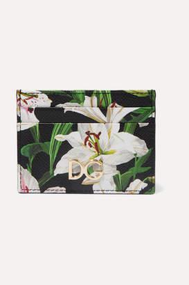 Dolce & Gabbana Lilium Floral-print Textured-leather Cardholder - Black