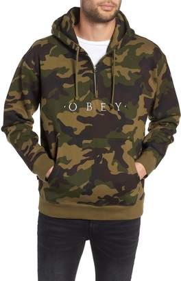 Obey Reason Anorak Half Zip Embroidered Hoodie