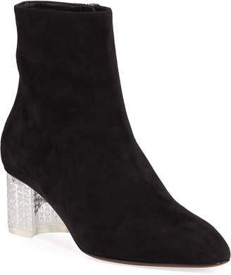 Alaia Suede Ankle Boots with Plexi Heel