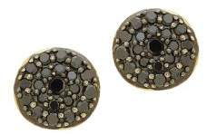 Lord & Taylor Black Diamond and 14K Yellow Gold Round Stud Earrings