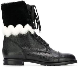 Manolo Blahnik Campcha Fur military boots