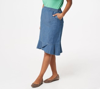 cheap for sale colours and striking recognized brands Fit And Flare Denim Skirt - ShopStyle