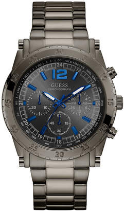 GUESS Men Chronograph Gunmetal Stainless Steel Bracelet Watch 46mm