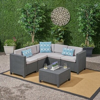 Ebern Designs Dudek Outdoor 6 Piece Sectional Seating Group with Cushions Ebern Designs Frame Finish: Dark Gray, Cushion Color: Gray