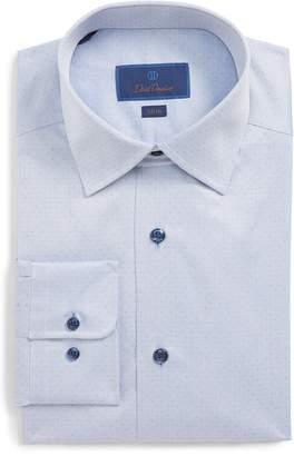 David Donahue Herringbone Dot Slim Fit Dress Shirt
