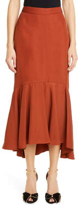 Johanna Ortiz Ruffle Hem Drill Midi Skirt