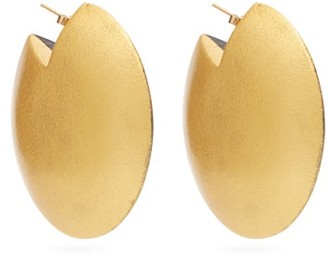 Vanda Jacintho - Wooden Disc Earrings - Womens - Black Gold