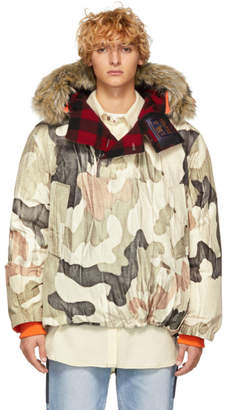 Woolrich John Rich and Bros Reversible Beige Griffin Edition Down Camo Atlantic Smock Jacket