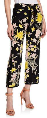 Diane von Furstenberg Lulu Cropped Floral-Print Silk Pants