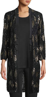 Misook Long Sequin Mesh Duster Jacket