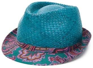 Etro paisley print brim straw hat
