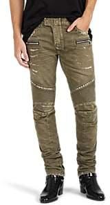 Balmain Men's Distressed Skinny Biker Jeans - Olive