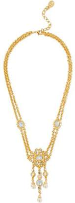 Ben-Amun Gold-Tone Stone Crystal And Faux Pearl Necklace