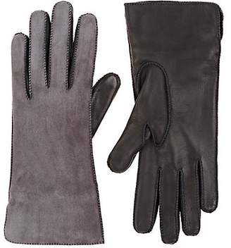 Barneys New York Women's Suede & Nappa Leather Gloves - Gray
