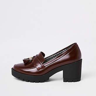 River Island Dark red chunky tassel heeled loafers