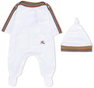 Burberry striped trim babygrow set