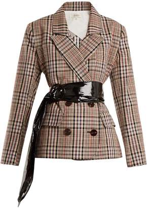 Double-breasted checked cotton blazer