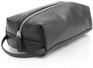 ROYCE New York Pebbled Leather Compact Toiletry Travel Bag