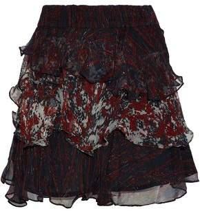 IRO Ruffled Printed Georgette Mini Skirt
