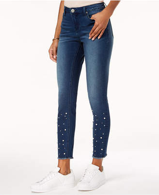 Rampage Juniors' Embellished Skinny Ankle Jeans