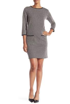 Max Studio Knit Jacquard Double Pocket Dress