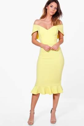 boohoo Mai Sweetheart Off Shoulder Midi Dress