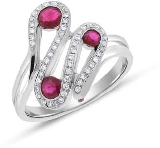 14k White Gold 0.70tcw Natural Diamond & Ruby Fashion Wave Chic Ring Size 7.25