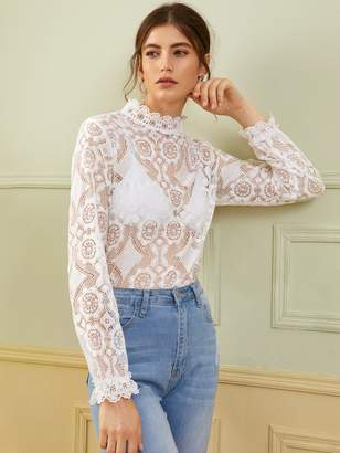 Shein Scallop Edge Lace Top Without Bra