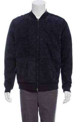 Vince Suede-Accented Linen-Blend Bomber