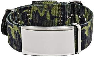 FINE JEWELRY Mens Stainless Steel Green Camo Adjustable ID Bracelet