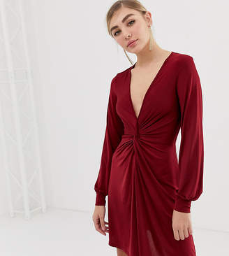 Miss Selfridge twist front dress in burgundy