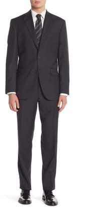 David Donahue Black Narrow Stripe Two Button Notch Lapel Classic Fit Suit