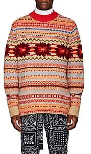 Sacai Men's Fair Isle Wool Oversized Sweater - Red