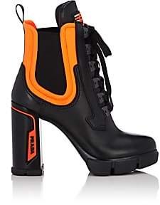 Prada Women's Leather & Neoprene Platform Ankle Boots-Black