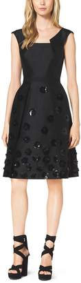 Michael Kors Silk and Wool Shantung Embroidered Pleat Dress
