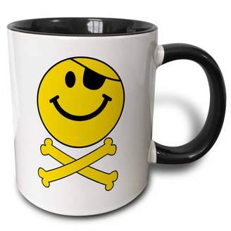 3dRose Pirate smiley face Yellow happy Jolly Roger flag skull and crossbones smilie with eye patch - white - Two Tone Black Mug, 11-ounce
