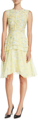 Jason Wu Sleeveless Fit-and-Flare Floral-Print Silk Crinkle Chiffon Day Dress