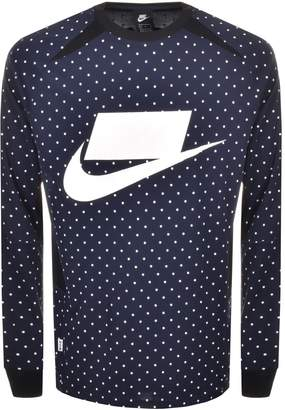 Nike Polka Dot Swoosh Logo T Shirt Navy